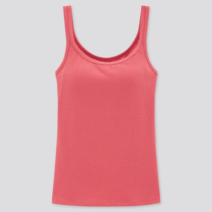 Women Airism Cotton Ribbed Sleeveless Bra Top, Pink, Large