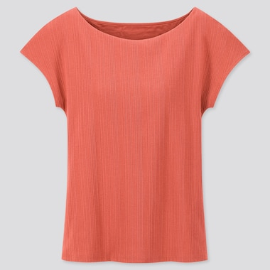 Women Ribbed Boat Neck French Sleeve T-Shirt Bra Top, Orange, Medium