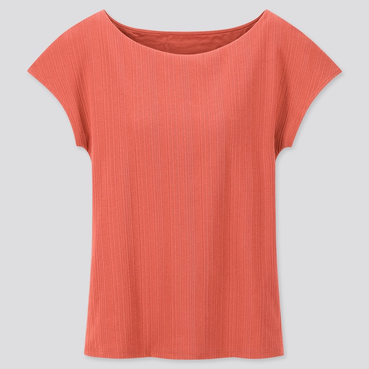 Women Ribbed Boat Neck French Sleeve T-Shirt Bra Top, Orange, Large