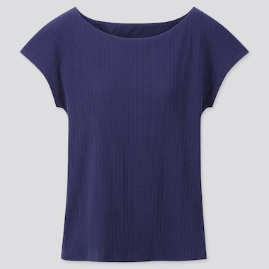 Women Ribbed Boat Neck French Sleeve Bra T-Shirt, Blue, Medium