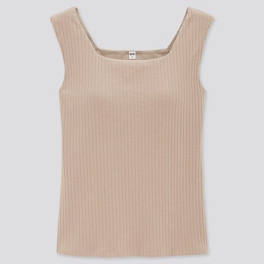 Women Wide-Ribbed Square Neck Sleeveless Bra Top (Online Exclusive), Beige, Medium