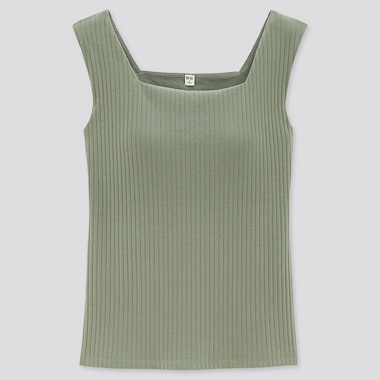 Women Wide-Ribbed Square Neck Sleeveless Bra Top, Green, Medium