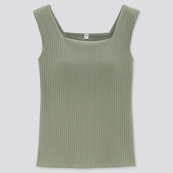 Women Wide-Ribbed Square Neck Sleeveless Bra Top (Online Exclusive), Green, Large