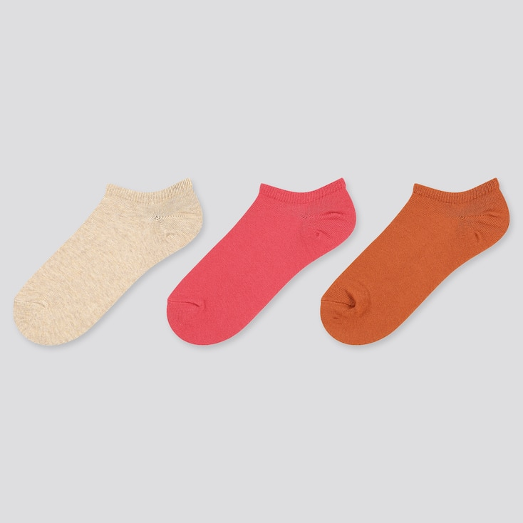 Women Short Socks (3 Pairs), Beige, Large
