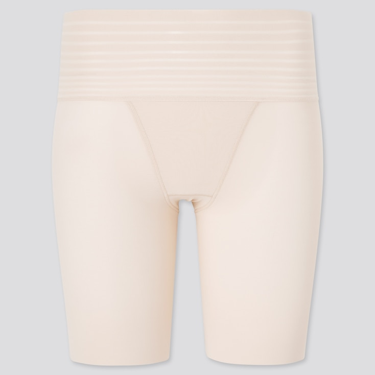 Women Body Shaper Non-Lined Smooth Half Shorts, Beige, Large