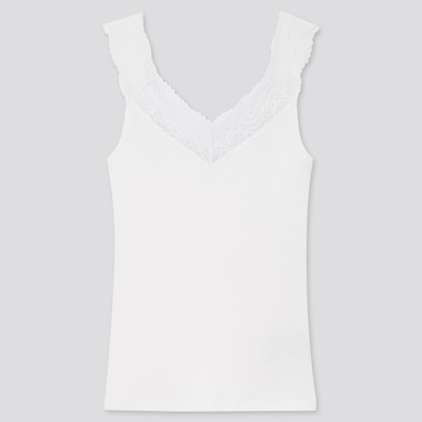 Women Cotton Ribbed Lace Sleeveless Top, White, Medium