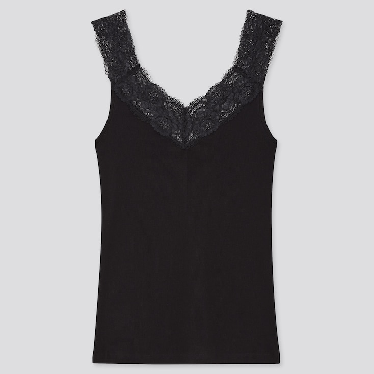 Women Cotton Ribbed Lace Sleeveless Top, Black, Large