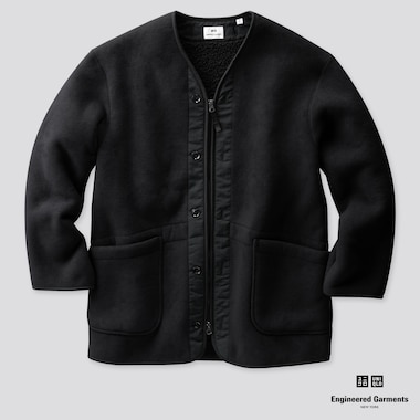 MEN FLEECE COLLARLESS COAT (ENGINEERED GARMENTS), BLACK, medium