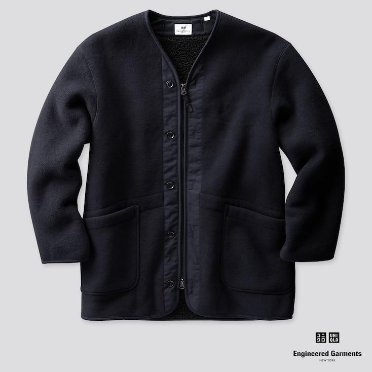 Men Fleece Collarless Coat (Engineered Garments), Navy, Large