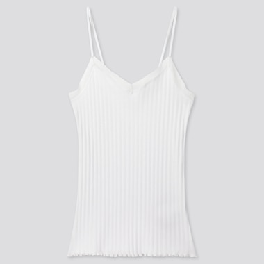 Women Cotton Pointelle Lace Camisole, White, Medium