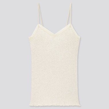 Women Cotton Pointelle Lace Camisole, Natural, Medium