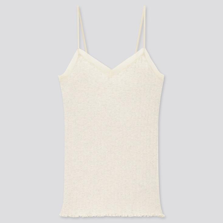 Women Cotton Pointelle Lace Camisole, Natural, Large