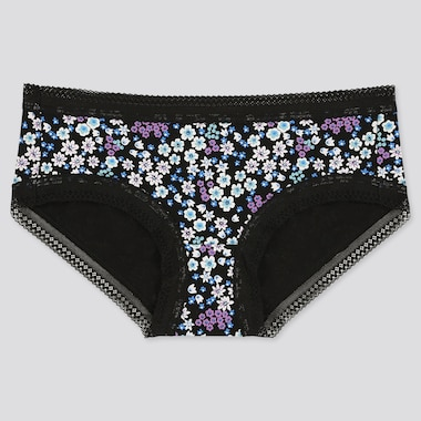 Women Floral Print Hiphugger, Black, Medium