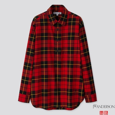 MEN FLANNEL CHECKED PULLOVER LONG-SLEEVE SHIRT (JW ANDERSON), RED, medium