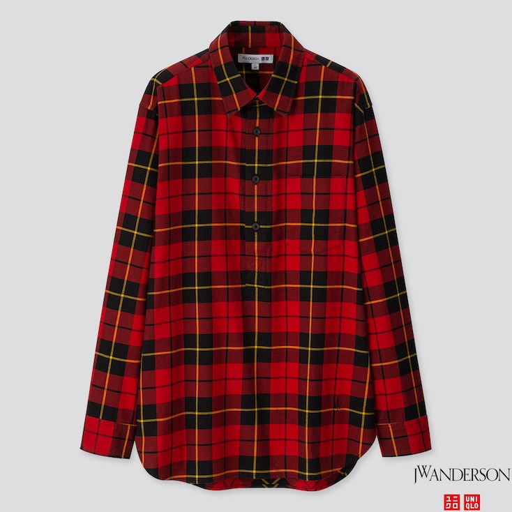 Men Flannel Checked Pullover Long-sleeve Shirt (jw Anderson), Red, Large