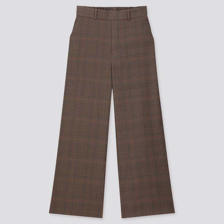 WOMEN WIDE STRAIGHT PANTS (BRUSHED), DARK BROWN, large