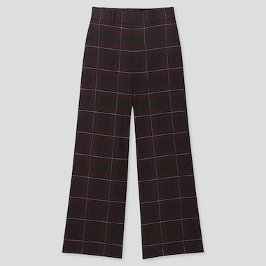 WOMEN WIDE STRAIGHT PANTS (BRUSHED), WINE, medium