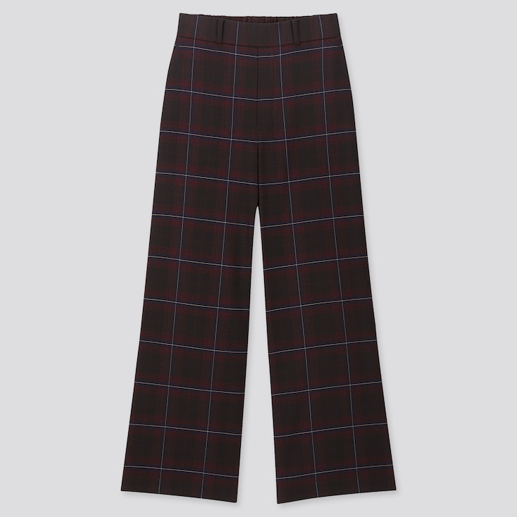 Women Wide Straight Pants (Brushed), Wine, Large