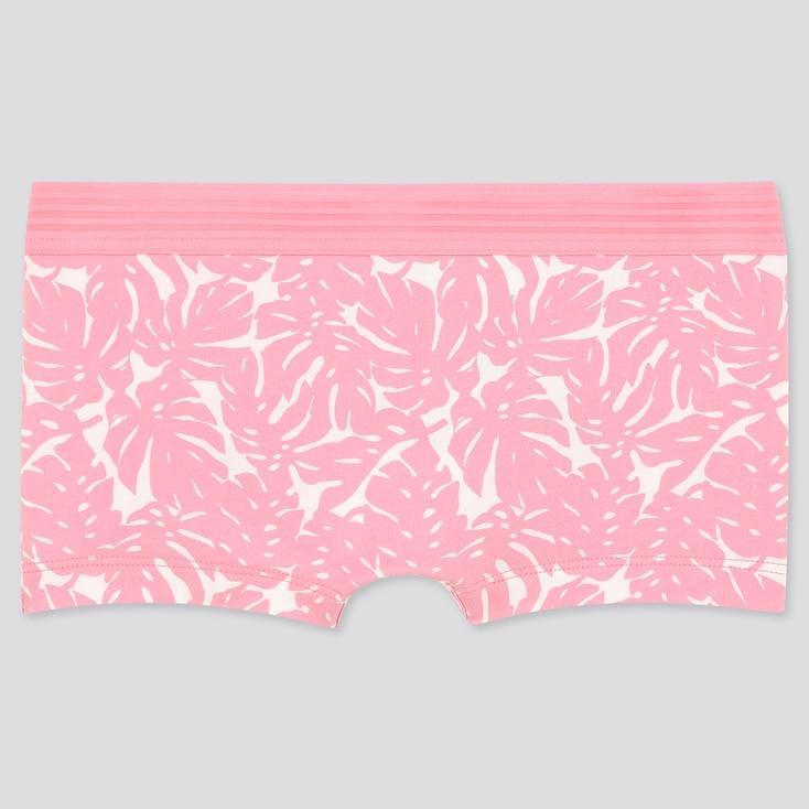 Women Leaf Print Boy Shorts, Pink, Large