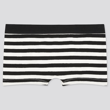 WOMEN STRIPED BOY SHORTS, BLACK, medium
