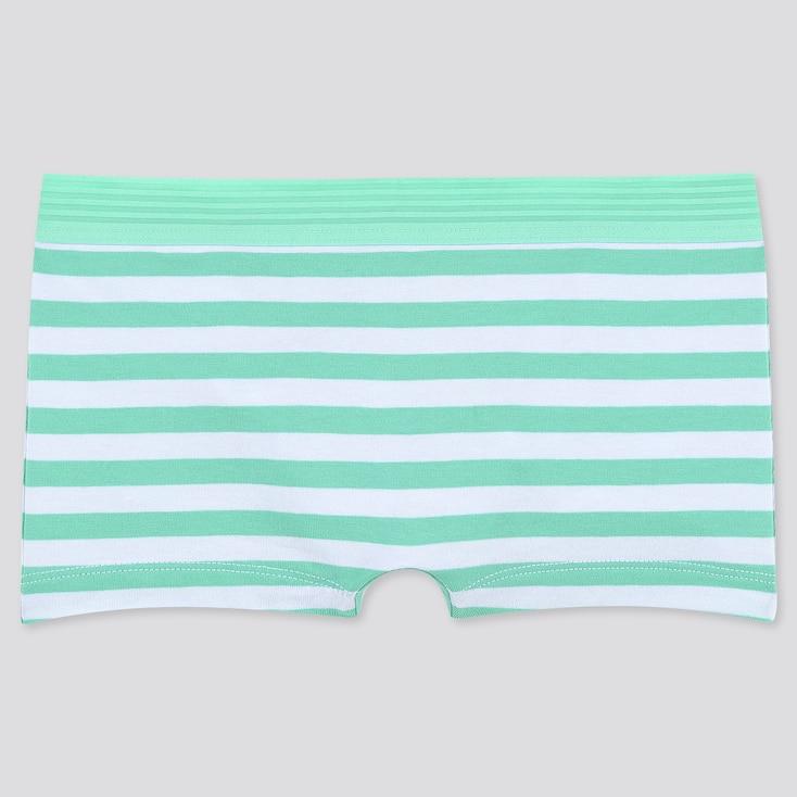 Women Striped Boy Shorts, Green, Large