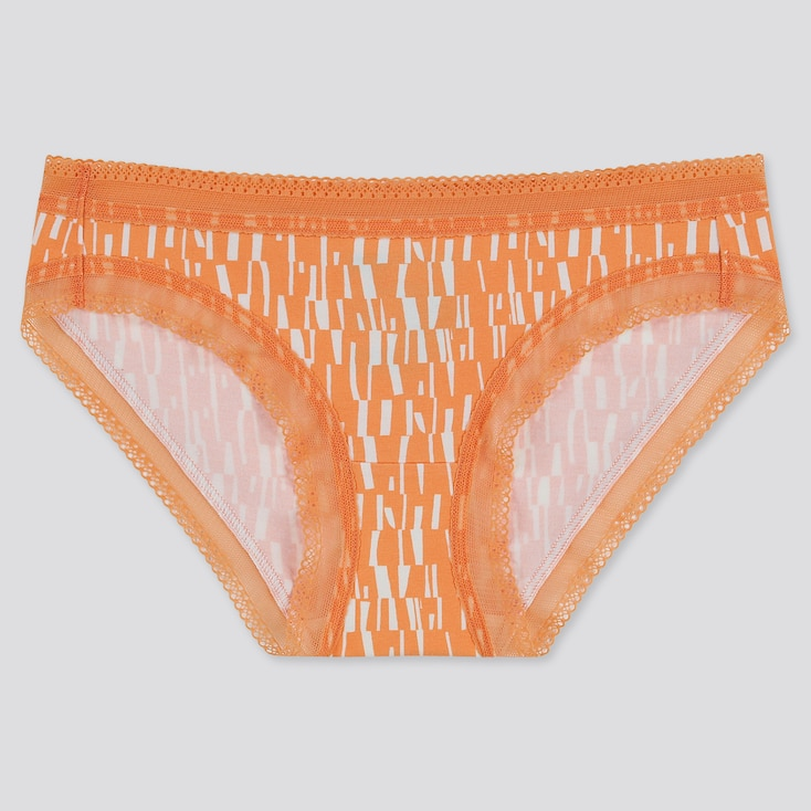 Women Geo Print Bikini, Orange, Large