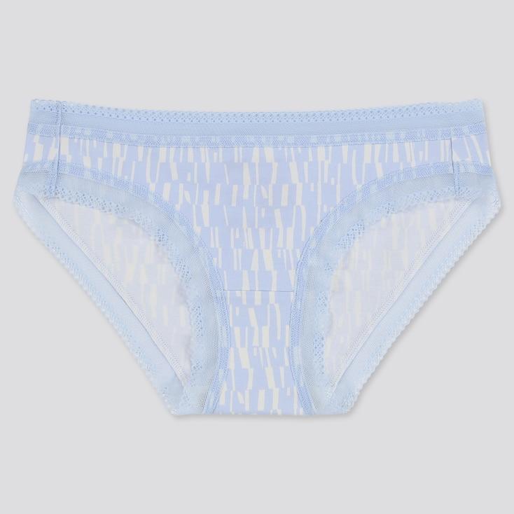 Women Geo Print Bikini, Light Blue, Large