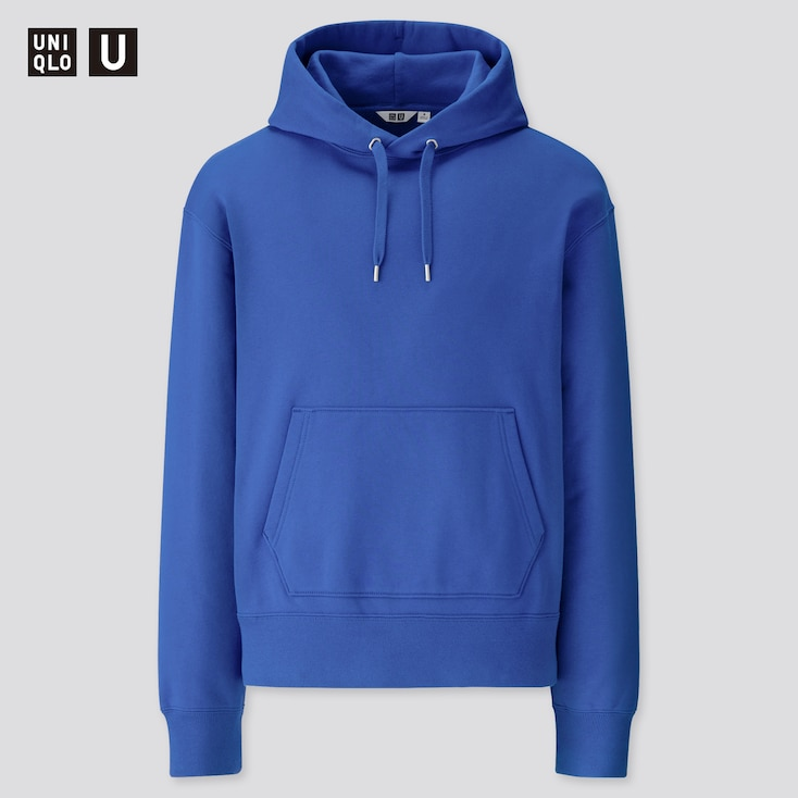 Men U Wide-Fit Long-Sleeve Sweat Pullover Hoodie, Blue, Large