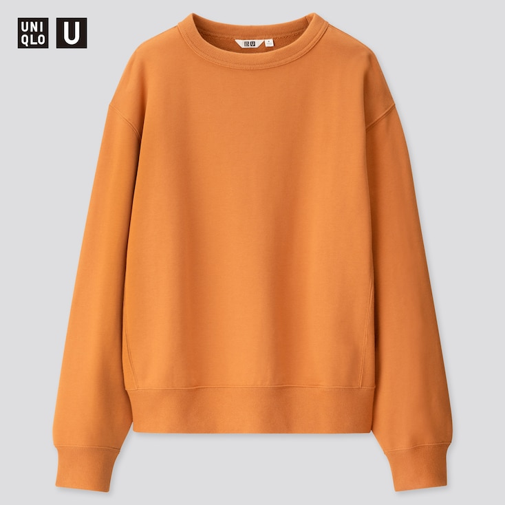 Men U Wide-Fit Long-Sleeve Sweatshirt, Orange, Large