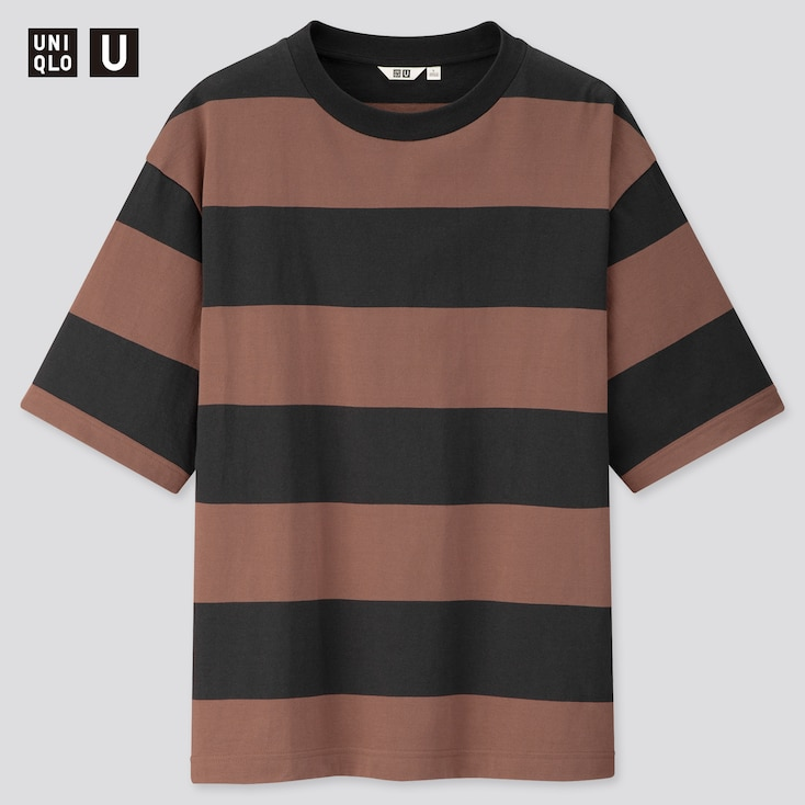 Men U Oversized Striped Crew Neck Short-Sleeve T-Shirt, Black, Large