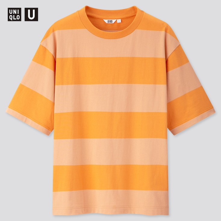 Men U Oversized Striped Crew Neck Short-Sleeve T-Shirt, Orange, Large