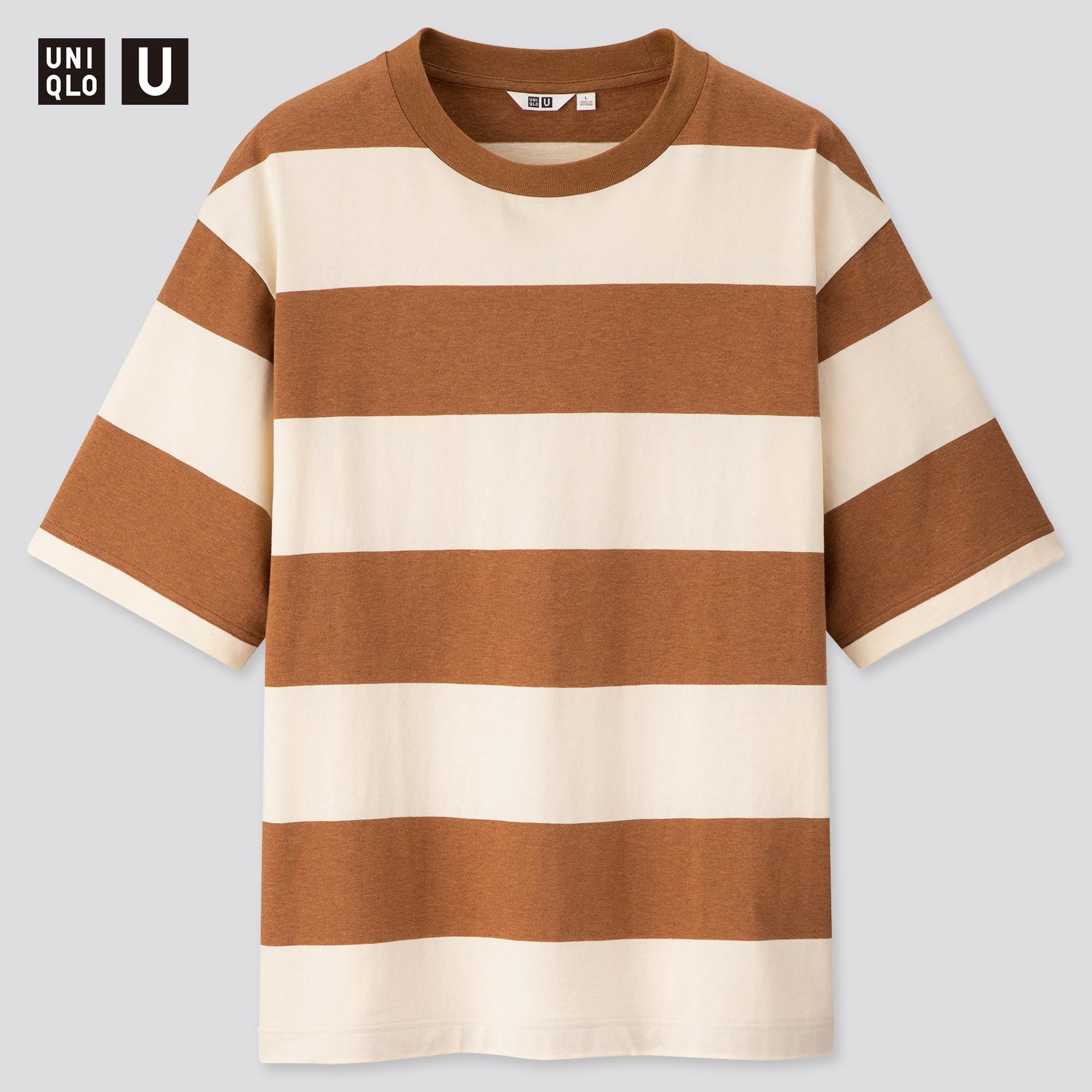 Uniqlo men u oversized striped crew neck short-sleeve t-shirt