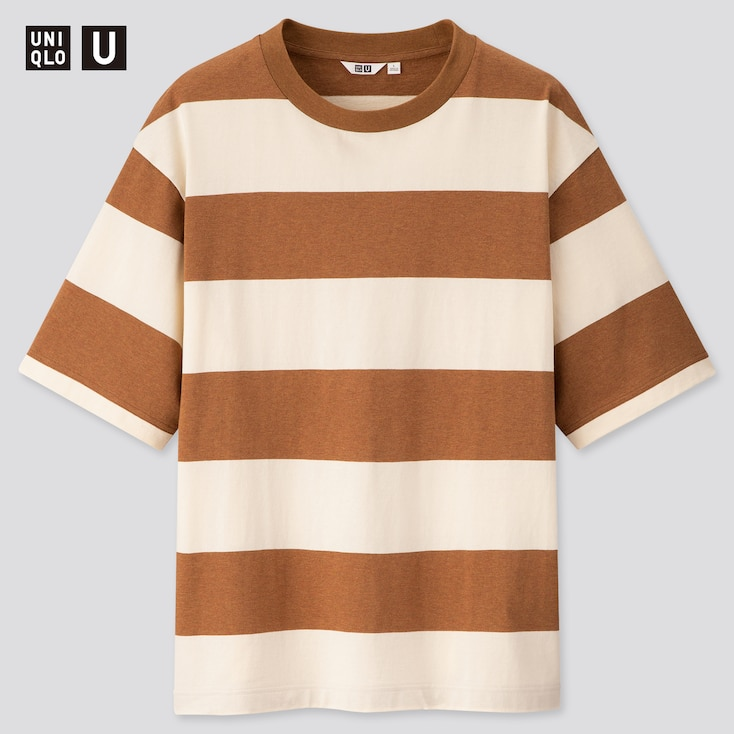 Men U Oversized Striped Crew Neck Short-Sleeve T-Shirt, Brown, Large