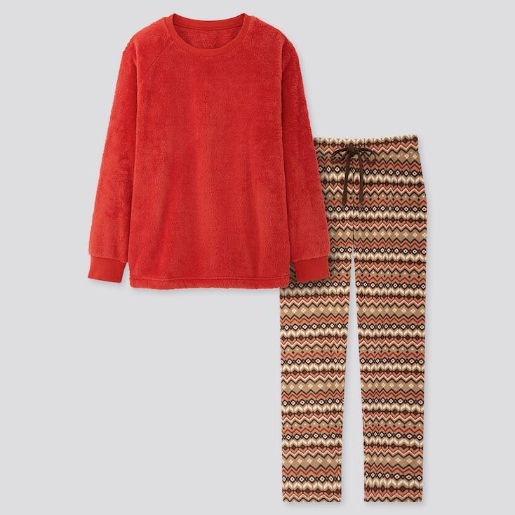 Women Fleece Long-sleeve Set, Orange, Large