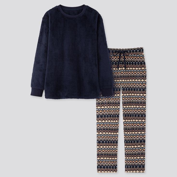Women Fleece Long-sleeve Set, Navy, Large