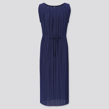 WOMEN PLEATED SLEEVELESS DRESS, NAVY, medium