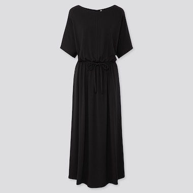 WOMEN JERSEY WAIST GATHERED HALF-SLEEVE DRESS, BLACK, medium