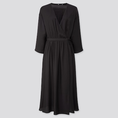 WOMEN WRAP 3/4 SLEEVE LONG DRESS (ONLINE EXCLUSIVE), BLACK, medium