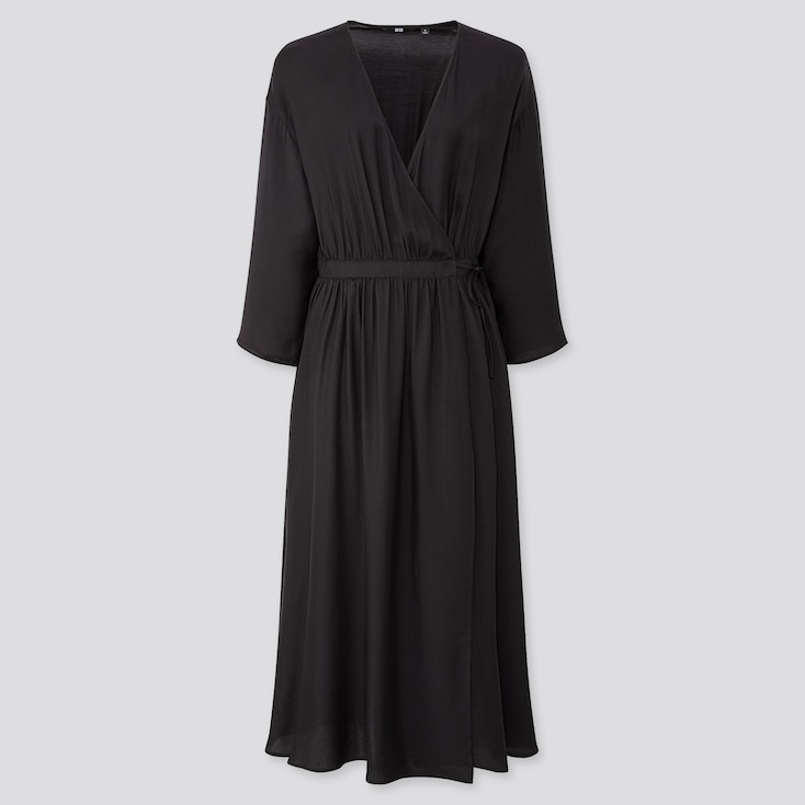 WOMEN WRAP 3/4 SLEEVE LONG DRESS (ONLINE EXCLUSIVE), BLACK, large