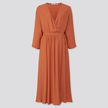 WOMEN WRAP 3/4 SLEEVE LONG DRESS (ONLINE EXCLUSIVE), ORANGE, medium