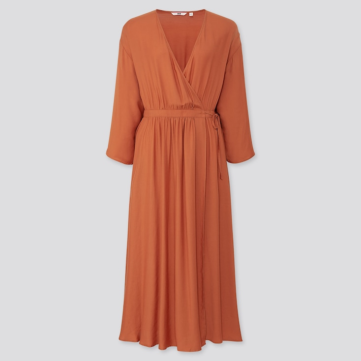 WOMEN WRAP 3/4 SLEEVE LONG DRESS (ONLINE EXCLUSIVE), ORANGE, large