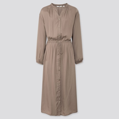 WOMEN V-NECK LONG-SLEEVE SHIRT DRESS, BEIGE, medium