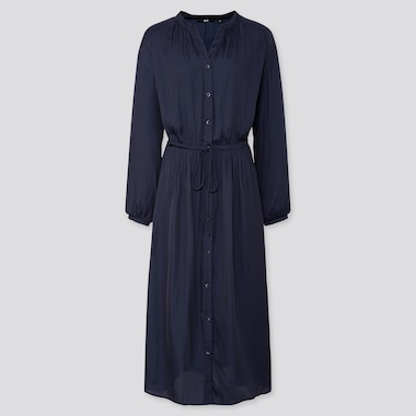 WOMEN V NECK LONG SLEEVED MAXI SHIRT DRESS