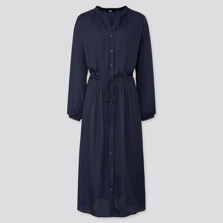 WOMEN V-NECK LONG-SLEEVE SHIRT DRESS, NAVY, large