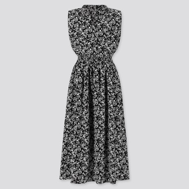 WOMEN PRINTED SHIRRING SLEEVELESS LONG DRESS, BLACK, medium