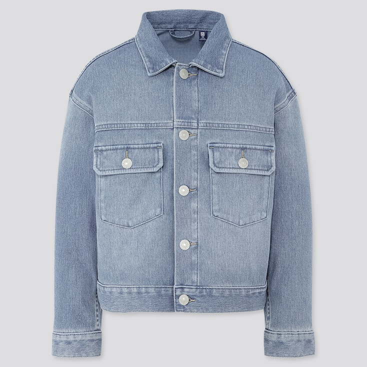 Kids Denim Jersey Jacket, Blue, Large