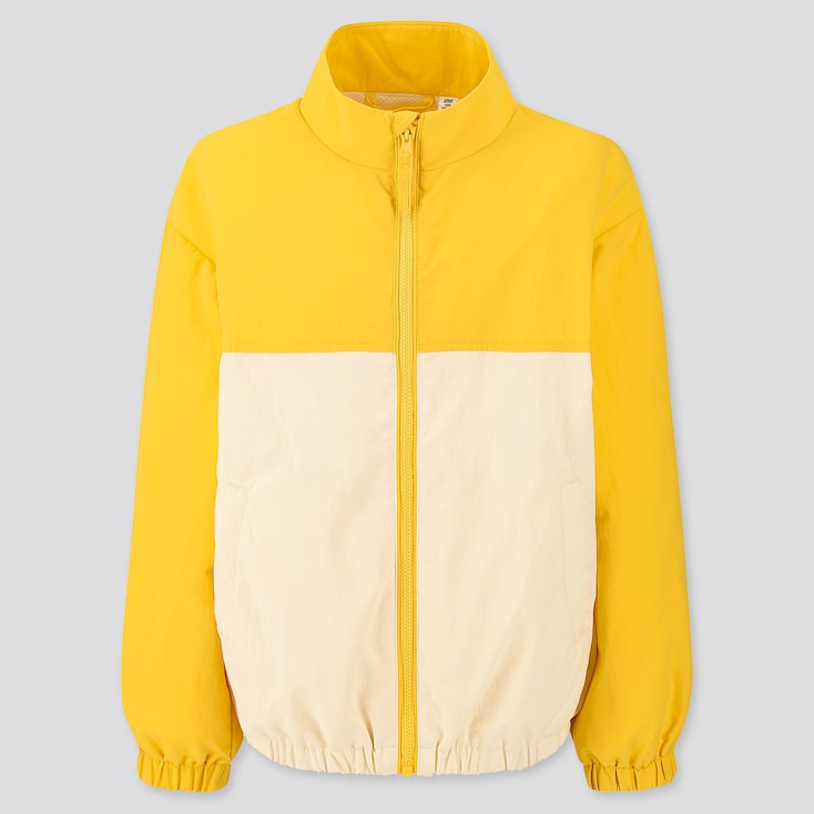 Kids Mesh Lining Color Block Blouson, Yellow, Large
