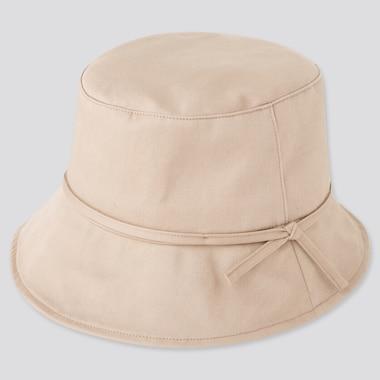 Women Uv Protection Adjustable Bucket Hat, Beige, Medium