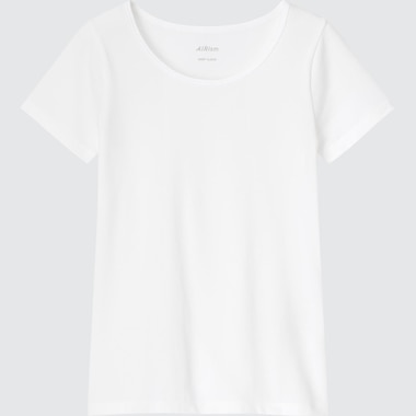 Kids Airism Cotton Blend Short-Sleeve Scoop Neck T-Shirt, White, Medium