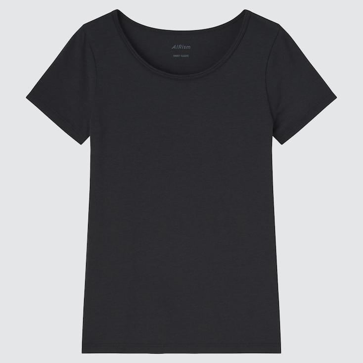Kids Airism Cotton Blend Short-Sleeve Scoop Neck T-Shirt, Black, Large
